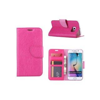 Luxe Lederen Bookcase hoesje voor de Samsung Galaxy S6 Edge - Roze
