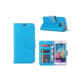 Luxe Lederen Bookcase hoesje voor de Samsung Galaxy S6 Edge - Blauw