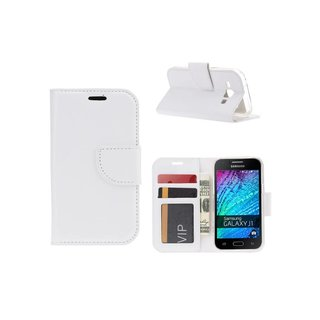 Bookcase Samsung Galaxy J1 hoesje - Wit
