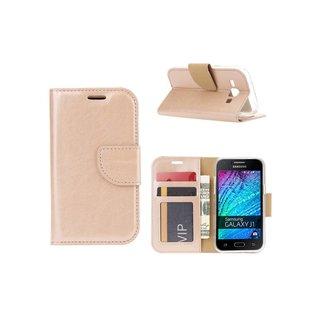 Bookcase Samsung Galaxy J1 hoesje - Goud