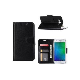 Luxe Lederen Bookcase hoesje voor de Samsung Galaxy J7 - Zwart