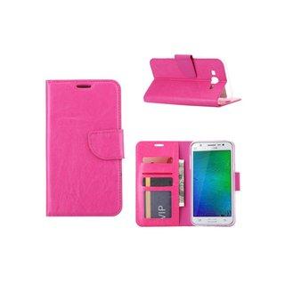 Luxe Lederen Bookcase hoesje voor de Samsung Galaxy J7 - Roze