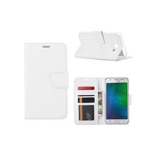 Luxe Lederen Bookcase hoesje voor de Samsung Galaxy J7 - Wit