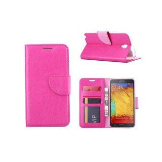 Luxe Lederen Bookcase hoesje voor de Samsung Galaxy Note 3 Neo - Roze
