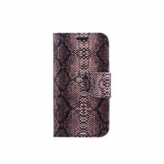 Slangenprint Lederen Bookcase hoesje - Zwart voor de Samsung Galaxy S3 Mini