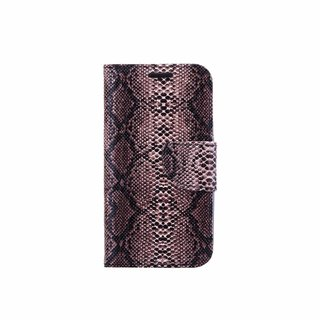 Slangenprint Lederen Bookcase hoesje - Zwart voor de Samsung Galaxy S4