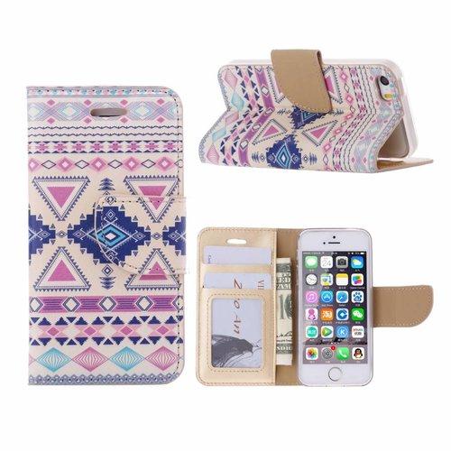 Aztec print lederen bookcase hoesje voor de Apple iPhone 5S