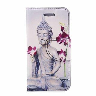 Buddha print lederen bookcase hoesje voor de Apple iPhone 5S