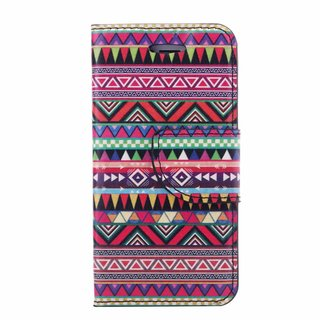 Gekleurde Aztec Print lederen bookcase hoesje voor de Apple iPhone 4
