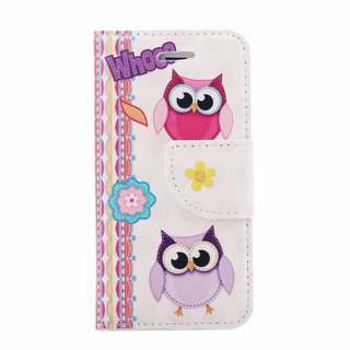 Whoo Uil print lederen bookcase hoesje voor de Apple iPhone 4S