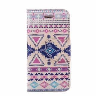 Aztec print lederen bookcase hoesje voor de Apple iPhone 5C