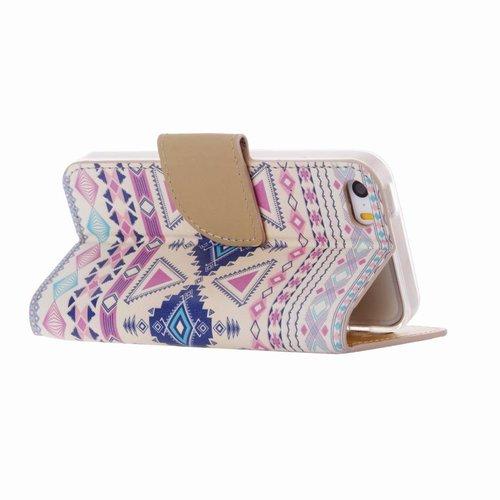 Aztec print lederen bookcase hoesje voor de Apple iPhone 5C