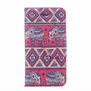 Olifant print lederen bookcase hoesje voor de Apple iPhone 4S - Roze