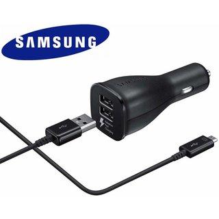 Originele Adaptive Fast Charging Dual port Autolader 9.0V / 2,0 A met kabel - Zwart