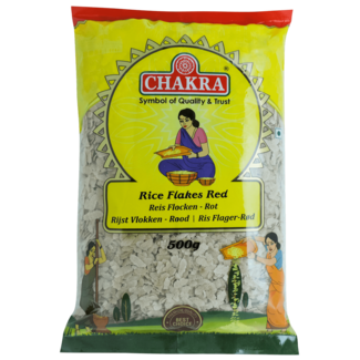 Chakra Rice Flakes Red Medium (rode rijstvlokken), 500 gr