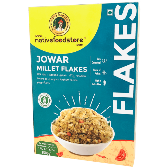 Native Food Jowar Millet Flakes (Ontbijtvlokken)