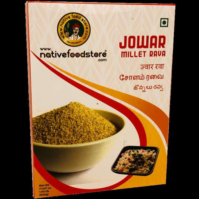 Native Food Jowar Millet Rava, 500 gr