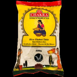Chakra Rice Flakes Thin (Rijstvlokken Dun), 500 gr