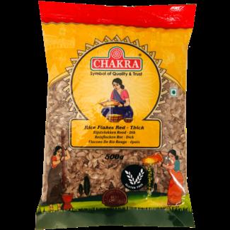 Chakra Rice Flakes Red Thick (Rijstvlokken Dik), 500 gr