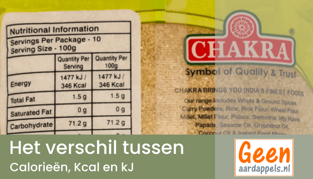 Wat is het verschil tussen calorieën, Kcal en kJ?