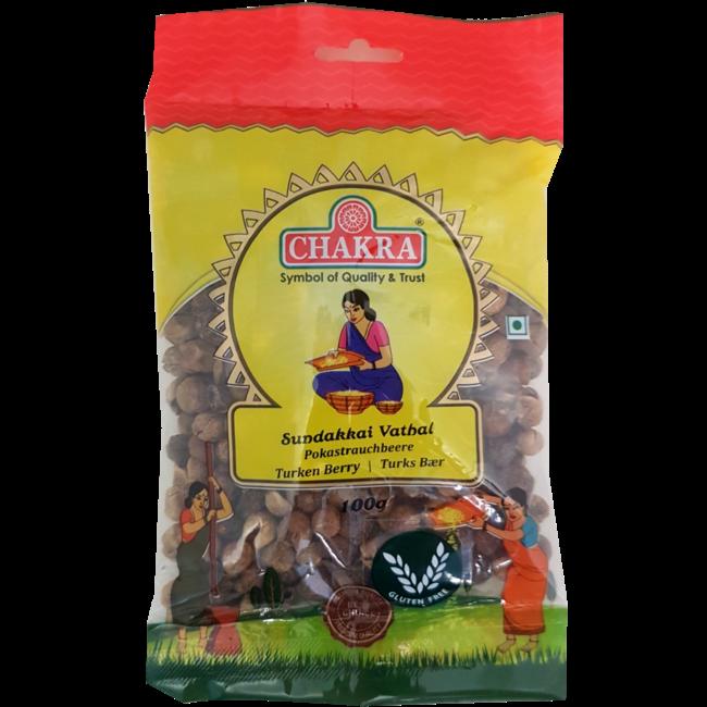 Chakra Sundakkai Vathal (Gedroogde Nachtschade Bessen), 100 gr