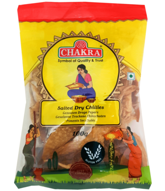 Chakra Salted Dry Chillies (gedroogde pepers, gezouten), 100 gr