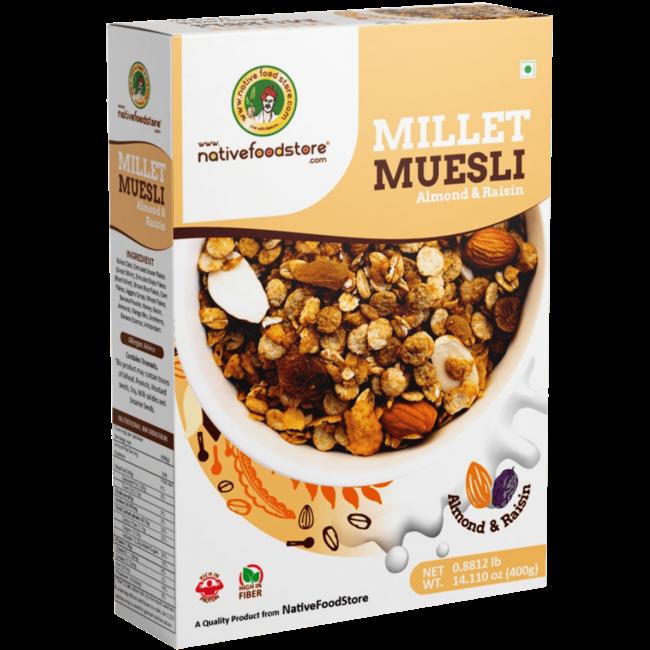 Native Food Millet Cereal met Amandel en Rozijnen