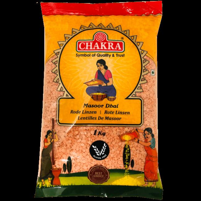 Chakra Red Masoor Dhal (Rode Linzen), 1 kg