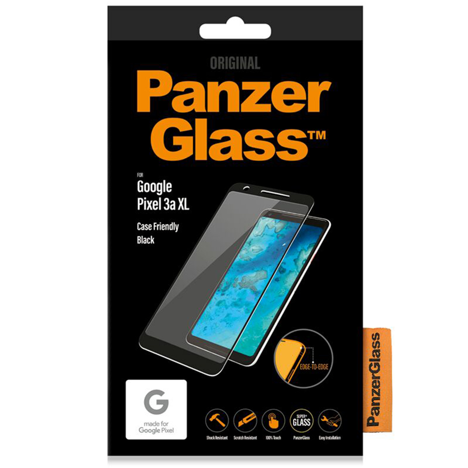 PanzerGlass Case Friendly Screenprotector voor de Google Pixel 3a XL - Zwart