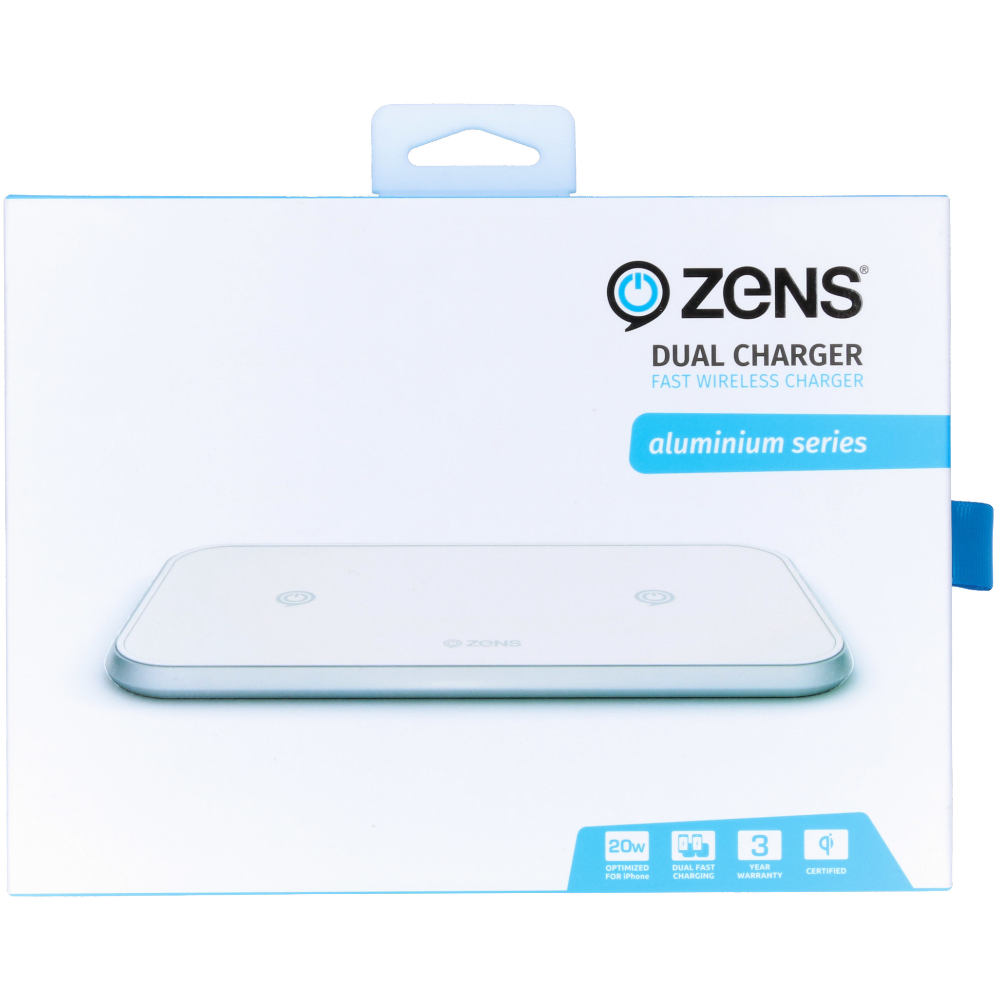 Zens Dual Fast Wireless Charger - 20 Watt - Aluminium Series