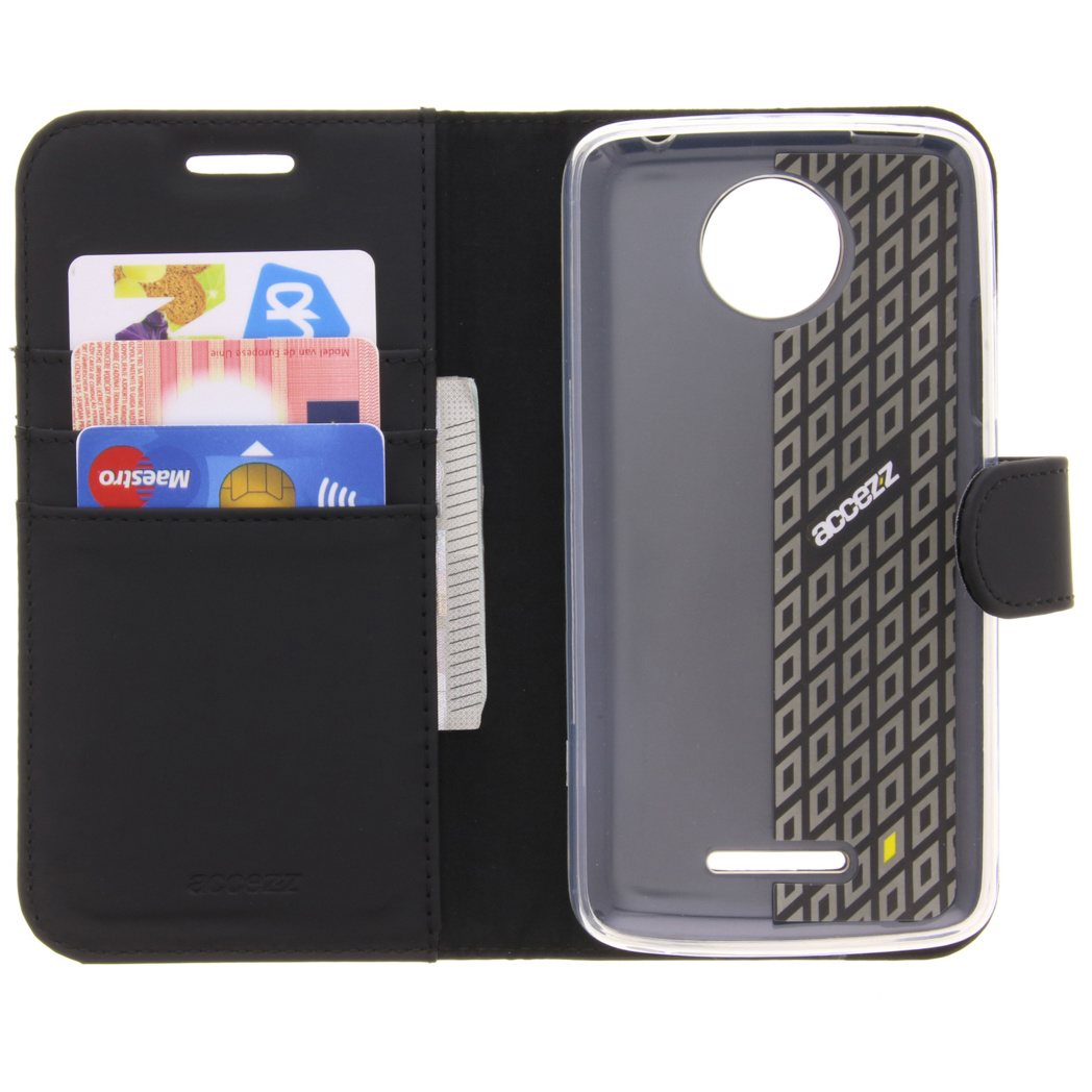 Accezz Wallet Softcase Booktype voor de Motorola Moto C Plus - Zwart