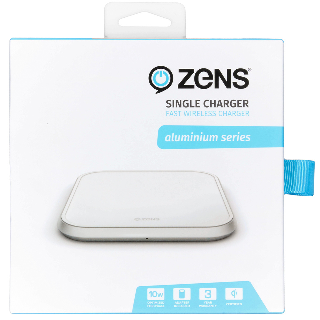 Zens Single Aluminium Wireless Charger 10W - Wit
