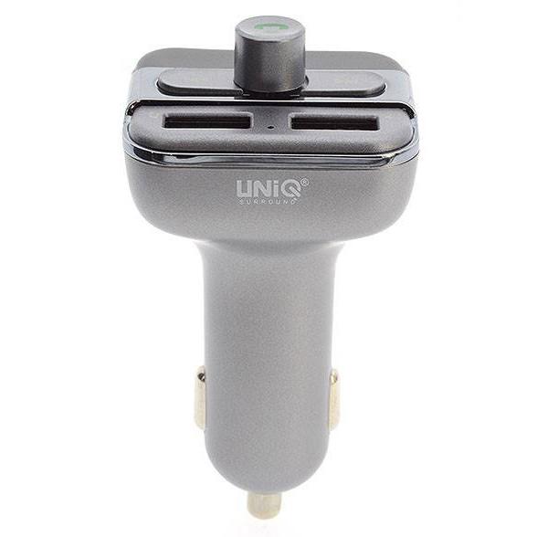 Uniq Car Wireless FM Transmitter Dual USB Charger - Zwart