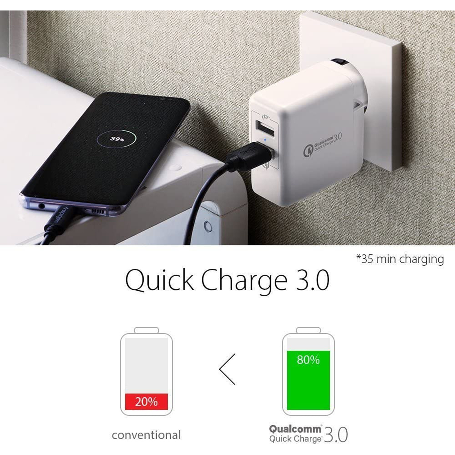 Spigen Essential USB Wall Charger Quick Charge 3.0 - Wit