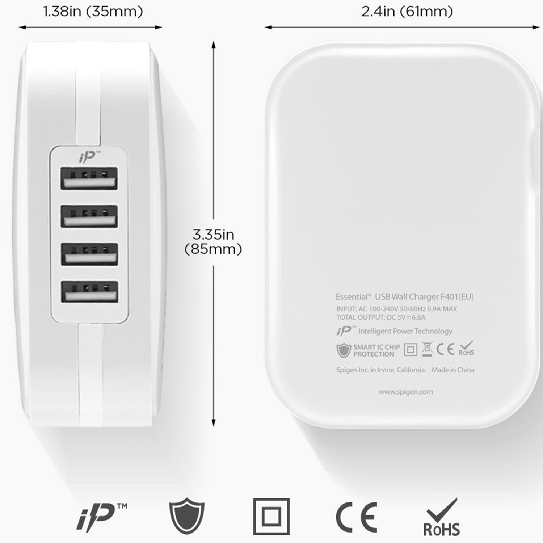 Spigen SteadiBoost 4x USB Wall Charger - Wit