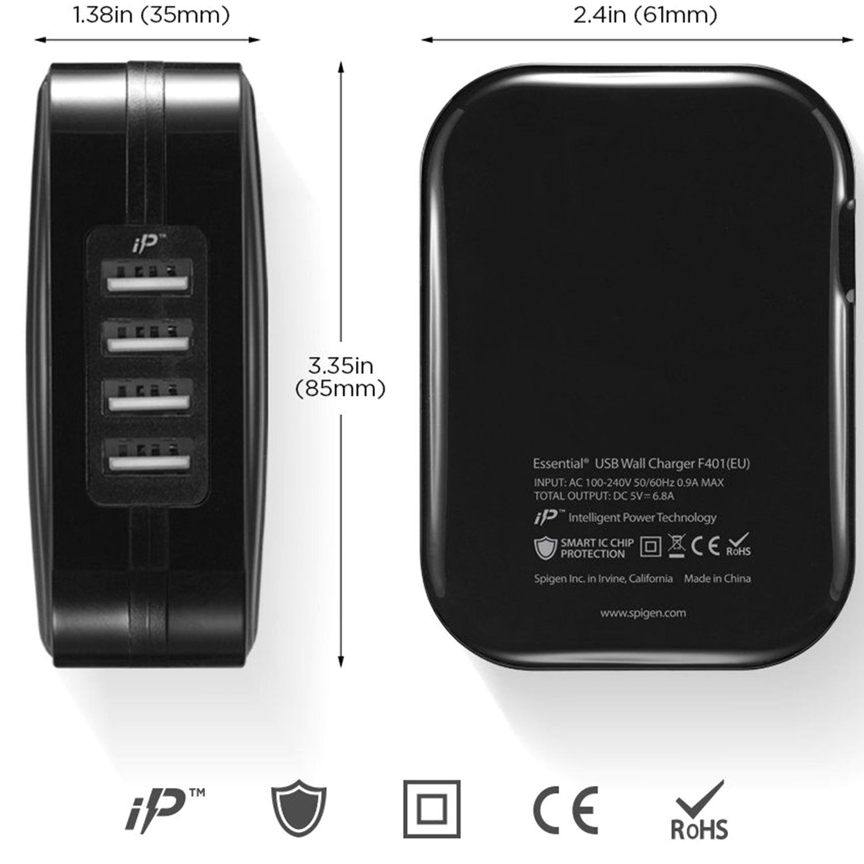 Spigen SteadiBoost 4x USB Wall Charger - Zwart