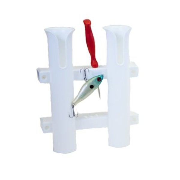 Fish-On! Tube Double Rod Holder White