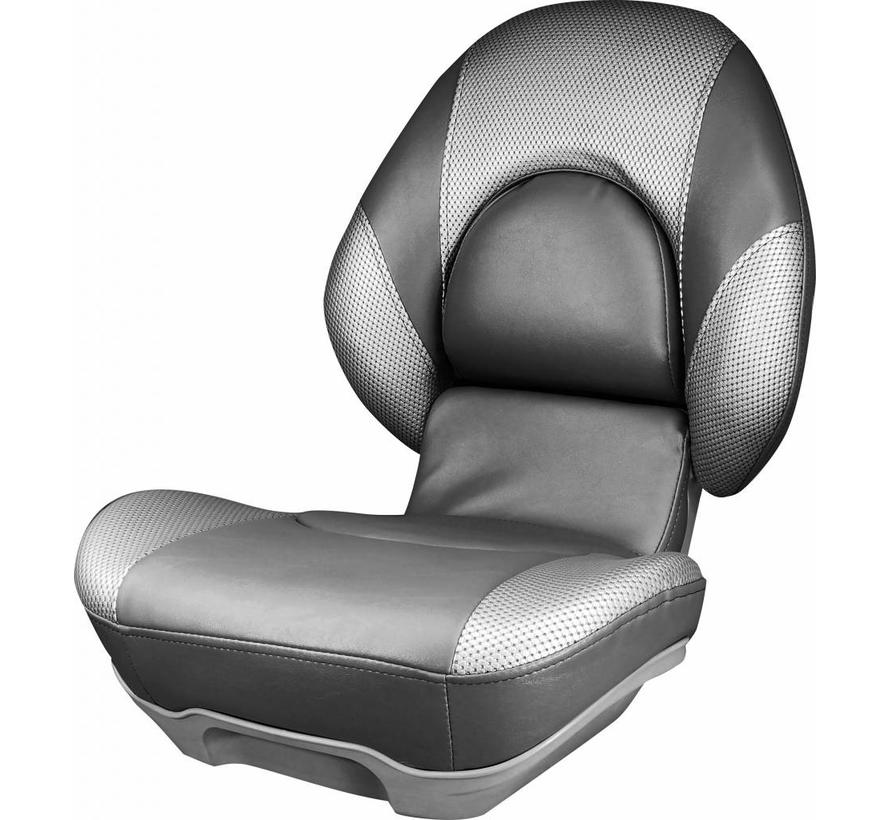 High Back Boat Seat Tempress® Centric ™ II Charcoal / Liquid Wave Silver