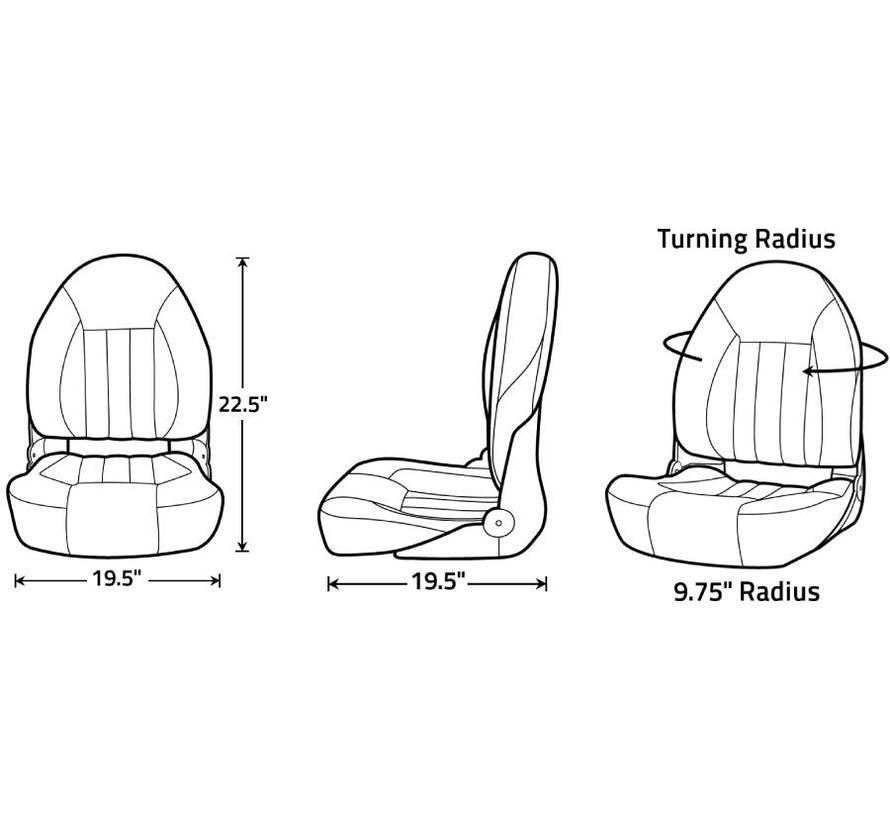 ProBax® High back boat seat Black/Charcoal