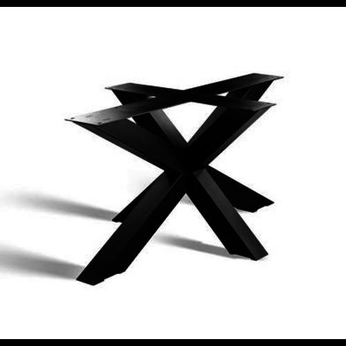 3D onderstel X ovale en rechte tafelbladen- gecoat staal, antraciet, zwart