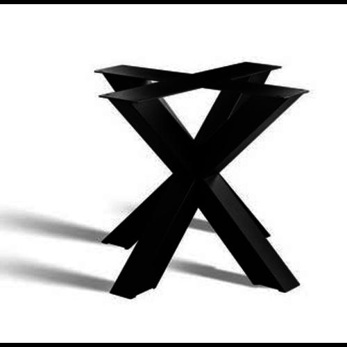3D onderstel ronde tafelbladen - gecoat staal, antraciet, zwart