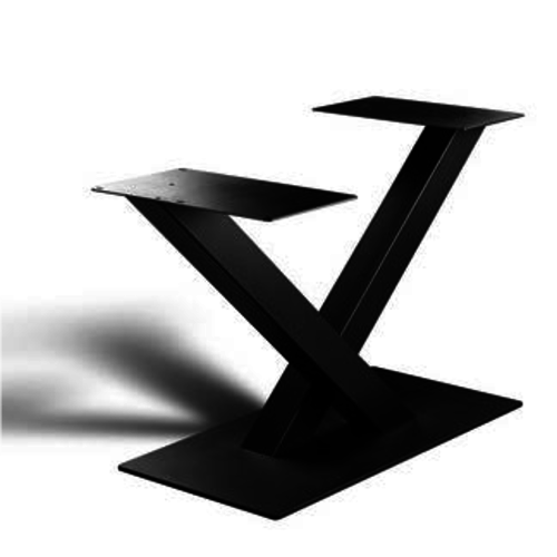 V-poot uit vierkante koker - gecoat staal, antraciet, zwart