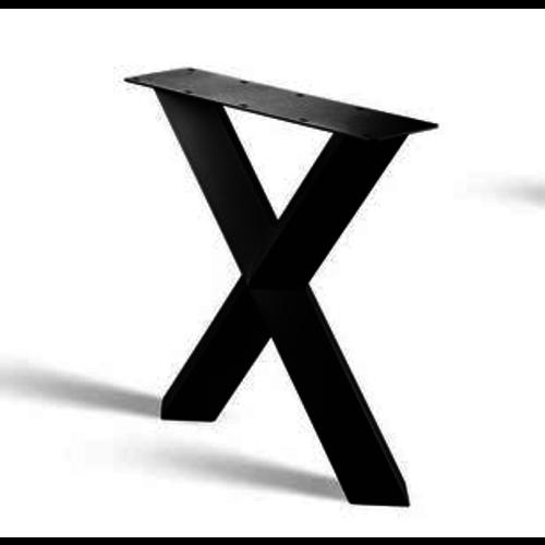 X-poot prisma onderstel - gecoat staal, antraciet, zwart