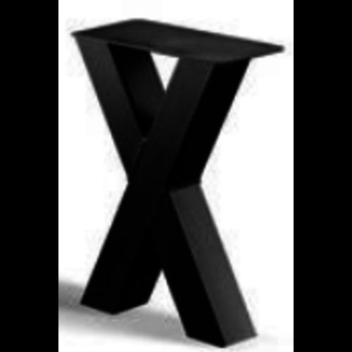 X-poot bankje - gecoat staal, antraciet, zwart