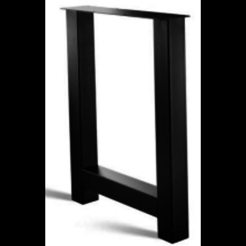 H-poot bar tafel - gecoat staal, antraciet, zwart
