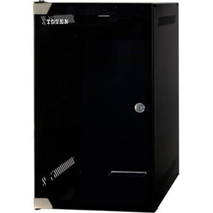 """10 , 15U wandkast, met gehard glazen deur, zwart, met slot, ongemonteerd""""-1"""