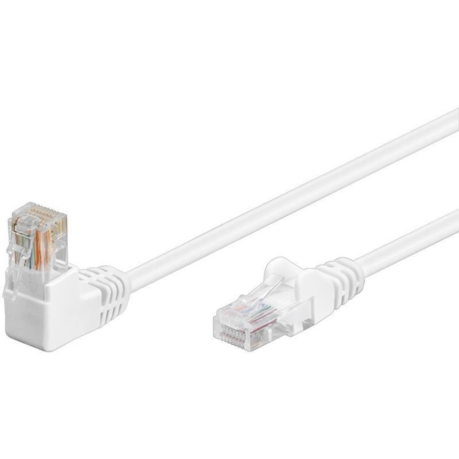 Cat5e 1 meter Wit UTP-kabel 1 x haaks