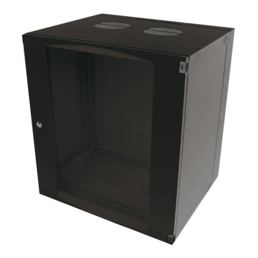 15U wandkast ongemonteerd zwenkbaar 540x600x725mm zwart
