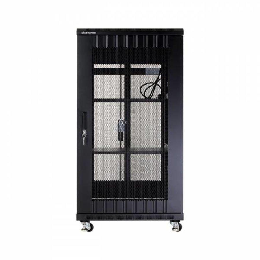 22U serverkast met geperforeerde deuren 600x600x1166mm (BxDxH)