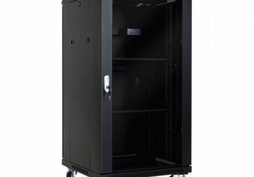 22U serverkast met glazen deur 600x800x1166mm (BxDxH)